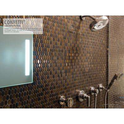 Confetti Bronze 11.81 in. x 11.81 in. x 8mm Porcelain Mesh-Mounted Mosaic Tile (0.97 sq. ft.)