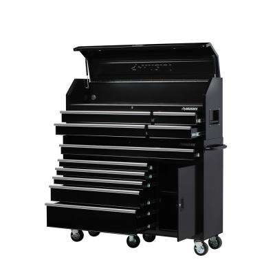 61 in. W 10-Drawer 1-Door Combination Tool Chest and Rolling Cabinet Set in Gloss Black