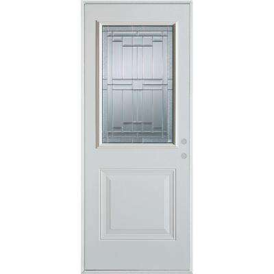 32 in. x 80 in. Architectural 1/2 Lite 1-Panel Painted White Steel Prehung Front Door