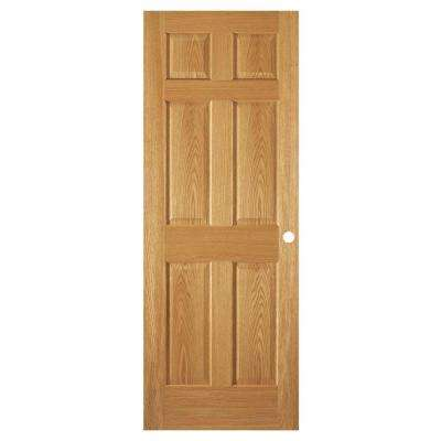 32 in. x 80 in. 6-Panel Unfinished Red Oak Interior Door Slab with Bore
