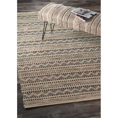 Bleached Naturals Black Jet 9 ft. x 12 ft. Black Chevron Area Rug