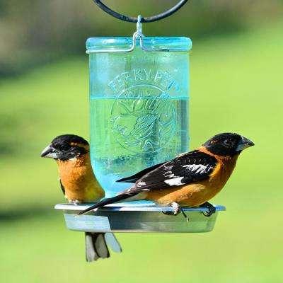 Blue Mason Jar Decorative Glass Bird Waterer - 32 oz. Capacity