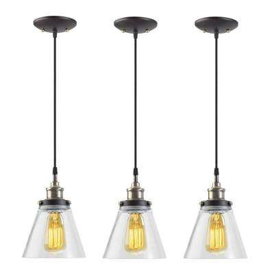 1-Light Black Vintage Edison Hanging Glass Pendant with Antique Brass and Black Cord (Pack of 3)
