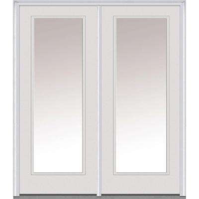 Classic Clear Glass Fiberglass Smooth Prehung Left-Hand Inswing Full Lite Patio Door