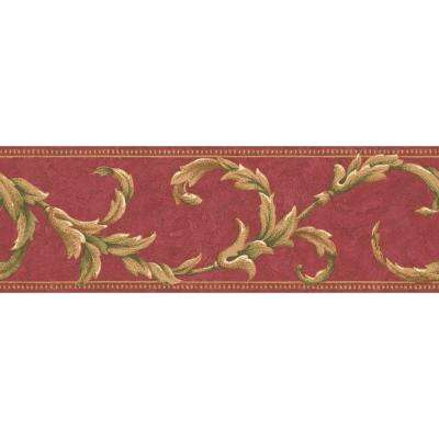 6.83 in. x 15 ft. Red Scroll Border
