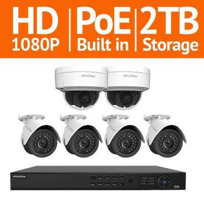 8-Channel Full HD IP Indoor/Outdoor Surveillance 2TB NVR System (4) 1080P Bullet and (2) Dome Cameras with Free Remote