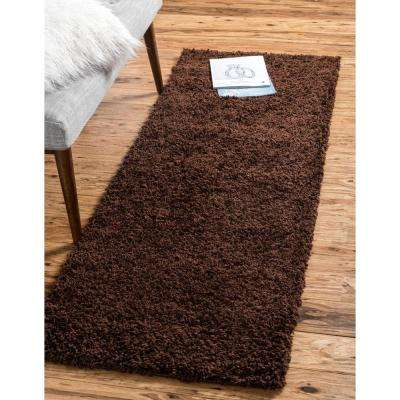 Solid Shag Chocolate Brown 20 ft. Runner Rug