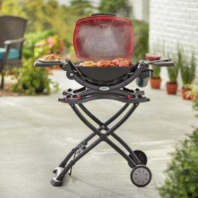 Q 1200 1-Burner Portable Tabletop Propane Gas Grill in Red with Built-In Thermometer