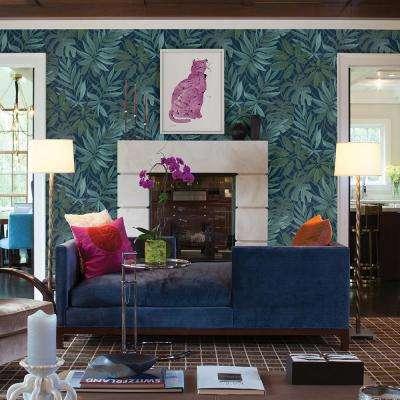 56.4 sq. ft. Nocturnum Blue Leaf Wallpaper