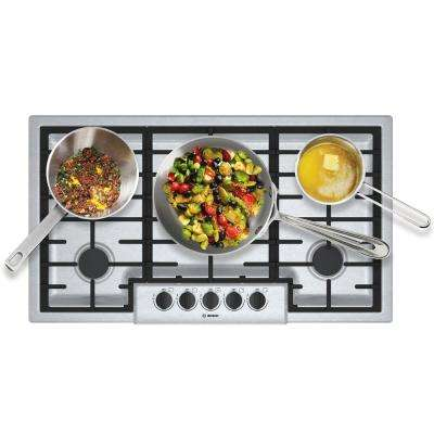 500 Series 36 in. Gas Cooktop in Stainless Steel with 5 Burners including 16,000 BTU Burner