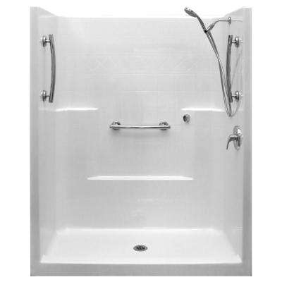 Ultimate-SA 33 in. x 60 in. x 77 in. 1-Piece Low Threshold Shower Stall Package in White, RHS Shower Kit, Center Drain
