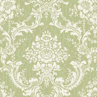 56 sq. ft. Green Large Contemporary Damask Wallpaper