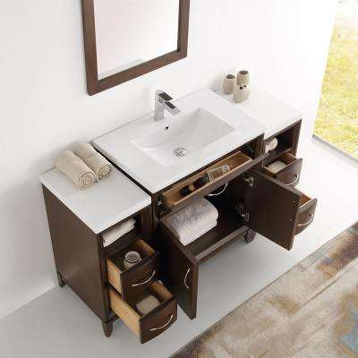 Cambridge 54 in. Vanity in Antique Coffee with Porcelain Vanity Top in White with White Ceramic Basin and Mirror