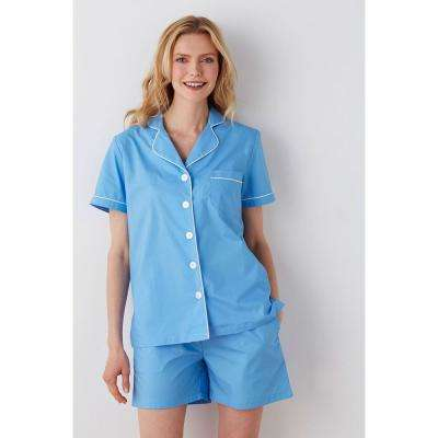 Solid Poplin Cotton Women's Pajama Short Set