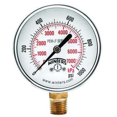 PEM-LF Series 2.5 in. Lead-Free Brass Pressure Gauge with 1/4 in. NPT LM and 0-1000 psi/kPa