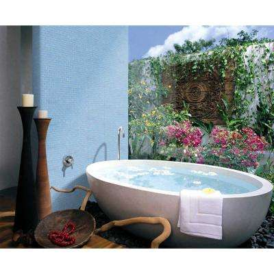 Landscape Danube Blue Linear Mosaic 1 in. x 2 in. Textured Glass Wall Pool and Floor Tile (0.77 Sq. ft.)