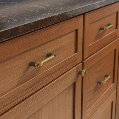 Riveted 3-3/4 in. (96mm) Center-to-Center Brushed Brass with Soft Iron Drawer Pull
