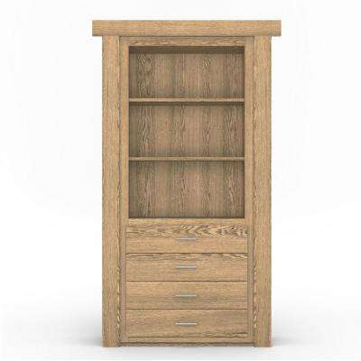 36 in. x 80 in. Flush Mount Assembled Dresser Door Oak Natural Stained Left-Hand Inswing