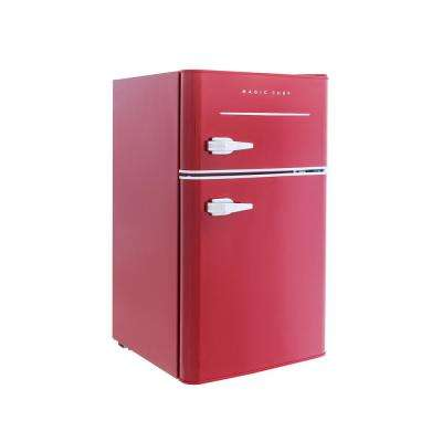 Retro 3.2 cu. ft. 2 Door Mini Refrigerator in Red