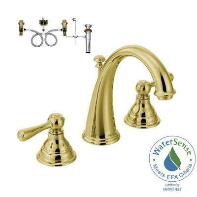Kingsley 8 in. Widespread 2-Handle High-Arc Bathroom Faucet Trim Kit with Valve in Polished Brass