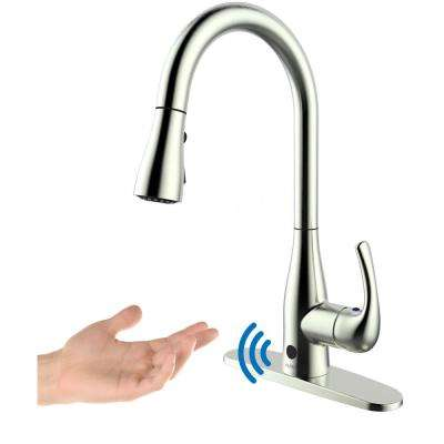 Motion Activated Single-Handle Pull-Down Sprayer Kitchen Faucet in Brushed Nickel