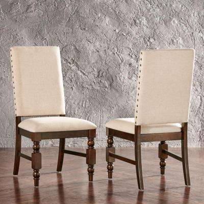 Maxine Fabric and Wood Dining Chair in Oatmeal (Set of 2)