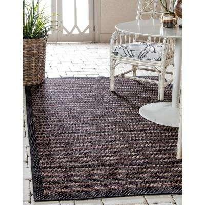 Outdoor Checkered Black 7' 0 x 10' 0 Area Rug