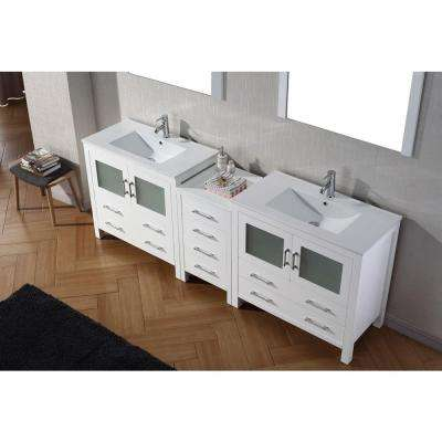 Dior 90 in. W Bath Vanity in White with Ceramic Vanity Top in Slim White Ceramic with Square Basin and Mirror and Faucet
