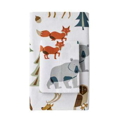 Night Forest Cotton Flannel Fitted Sheet