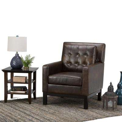 Carrigan Bonded Leather Club Chair in Distressed Brown