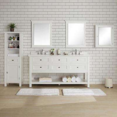 Austell 67 in. W x 22 in. D Vanity in White with Marble Vanity Top in White with White Sink