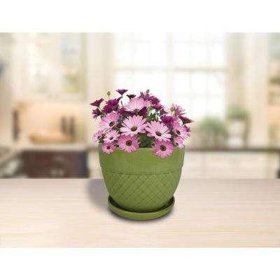 6 in. Dia Green Acorn Bell Ceramic Planter