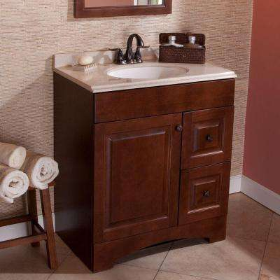 Summit 30 in. W x 19 in. D Bathroom Vanity in Auburn with Colorpoint Vanity Top in Maui with White Sink