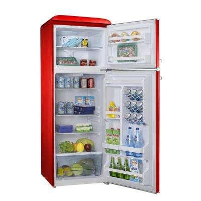 12.0 cu. ft. Top Freezer Retro Refrigerator with Dual Door True Freezer, Frost Free in Red