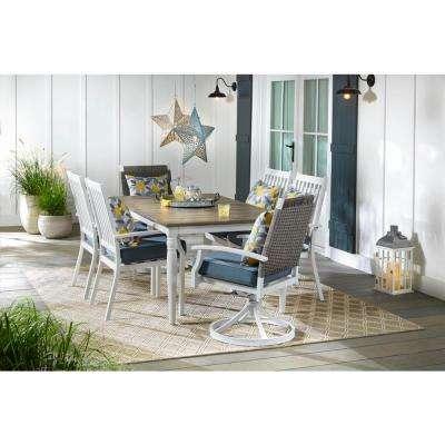 Jasper Ridge Farmhouse White Frame Rectangular Metal Outdoor Patio Dining Table with Wood Grain Tabletop