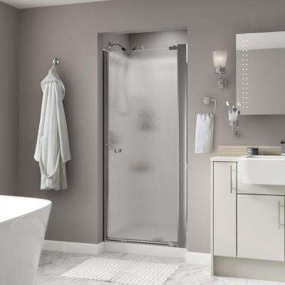Lyndall 33 in. x 64-3/4 in. Semi-Frameless Contemporary Pivot Shower Door in Chrome with Rain Glass