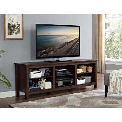 Walker Edison Furniture Company 70 inch Wood Media TV Stand Storage Console - Traditional Brown
