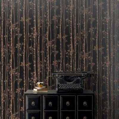 Black and Copper Linden Removable Wallpaper