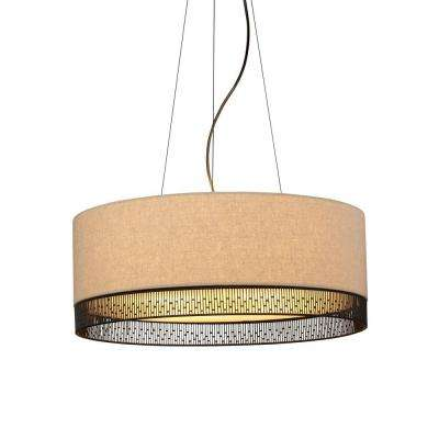 Hollywood Beach 4-Light Bronze Incandescent Hanging Chandelier with Tan Suspension