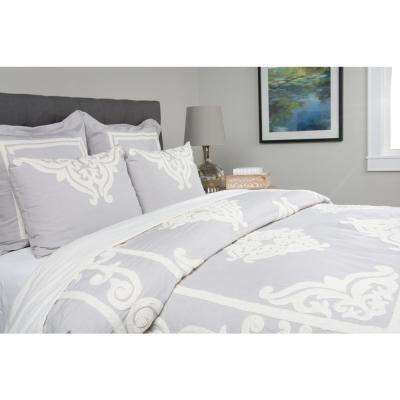 Patrina Soft Fog Cotton Embroidery 26 in. x 26 in. Euro Sham