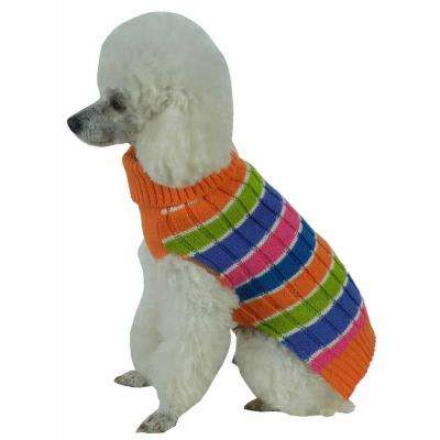 X-Small Multi-Colored Tutti-Beauty Rainbow Heavy Cable Knitted Ribbed Designer Turtle Neck Dog Sweater