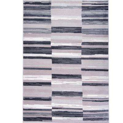 Bazaar City Stripes Gray 7 ft. 10 in. x 10 ft. 2 in. Indoor Area Rug