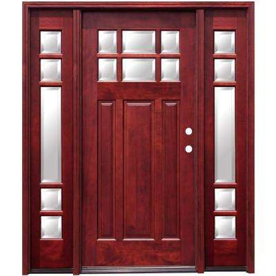 Craftsman 6 Lite Stained Mahogany Wood Prehung Front Door with 6 in. Wall Series and 12 in. Sidelites