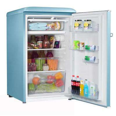 3.5 cu. ft. Retro Mini Refrigerator Single Door Fridge Only in Blue