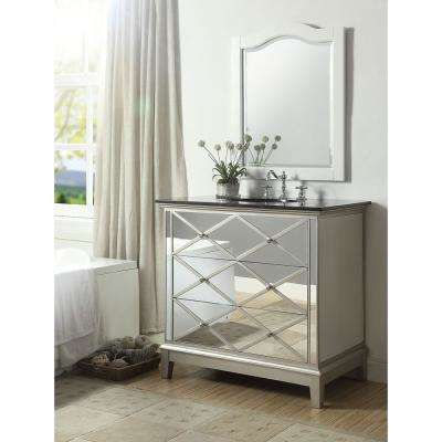 Dinia 36 in. W x 23 in. D x 36 in. H Bath Vanity in Mirrored Finish with Marble Vanity Top in Black with White Basin