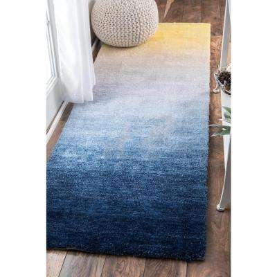 Ombre Hertha Shaggy Navy 3 ft. x 8 ft. Runner Rug