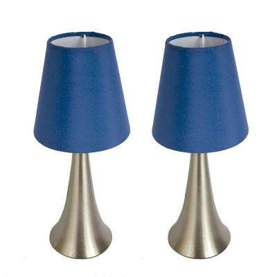 Valencia 11.5 in. Brushed Nickel Mini Touch Table Lamp Set with Blue Fabric Shades (2-Pack)