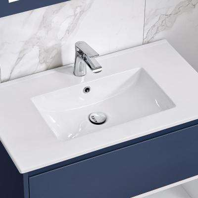 Mason 32 in. W x 18.13 in D. in Navy Blue with Porcelain White One Piece Top with White Basin