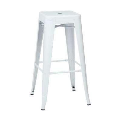 Patterson 30 in. Steel Backless Bar Stool in White (2-Pack)