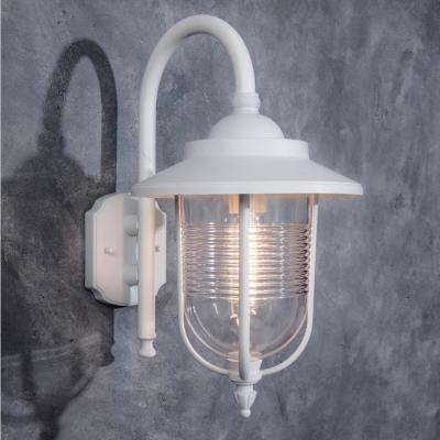 Coastal Old Saybrook 1-Light White Outdoor Wall Lantern Sconce